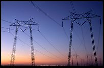 High tension power lines at sunset. California, USA ( color)