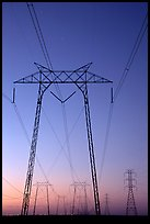 High voltage power lines at sunset. California, USA ( color)