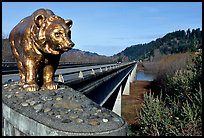Golden bear adorning a bridge over the Klamath River. California, USA