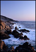 Surf and rocks at sunset, Garapata State Park. Big Sur, California, USA