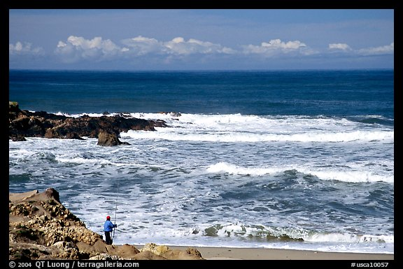 Fisherman, Bean Hollow State Beach. San Mateo County, California, USA (color)