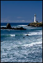 Surf and Pigeon Point Lighthouse, morning. San Mateo County, California, USA