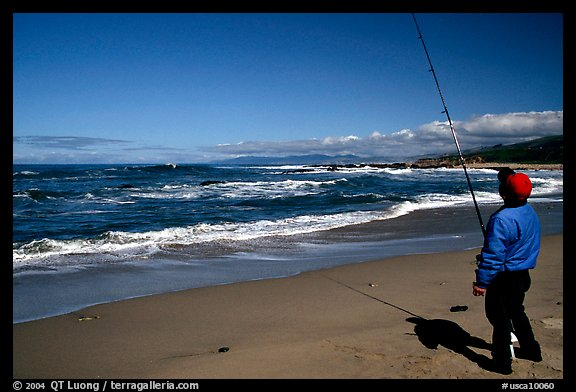 Fisherman, Bean Hollow State Beach. San Mateo County, California, USA