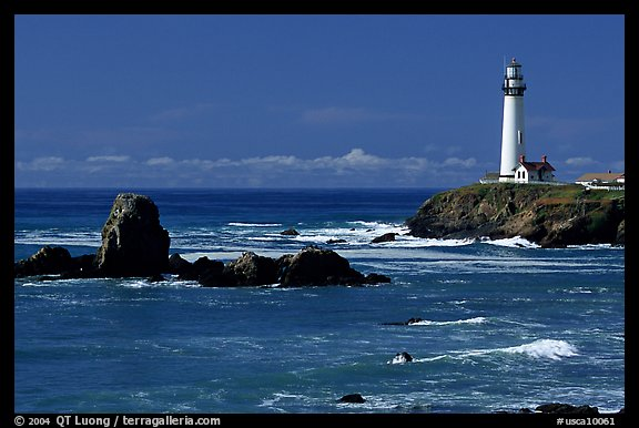 Pigeon Point Lighthouse and rocks, morning. San Mateo County, California, USA (color)