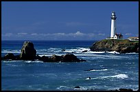 Pigeon Point Lighthouse and rocks, morning. San Mateo County, California, USA ( color)