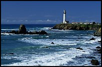 Pigeon Point Lighthouse and waves, morning. San Mateo County, California, USA (color)