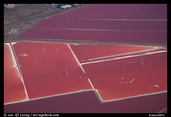 Aerial view of salt pond colorful patches. Redwood City,  California, USA (color)