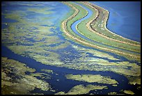 Aerial view of wetlands in the South Bay. Redwood City,  California, USA ( color)