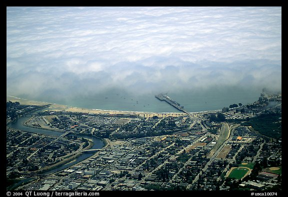 Aerial view of Santa Cruz with fog-covered ocean. Santa Cruz, California, USA
