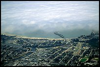 Aerial view of Santa Cruz with fog-covered ocean. Santa Cruz, California, USA (color)