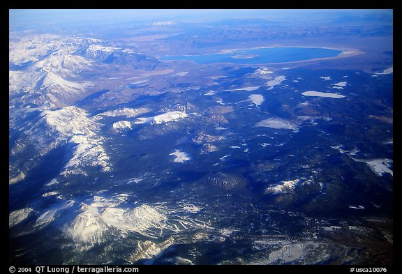Aerial view of the Sierra Nevada and Mono Lake. California, USA (color)