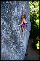 Rock climber on the Boy Scout rocks, Mt Diablo State Park. California, USA (color)