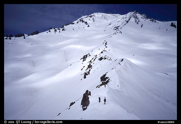 Mount Shasta with climbers on Green Ridge. California, USA