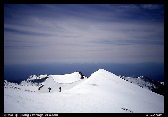 Climbers on the Green Ridge of Mount Shasta. California, USA