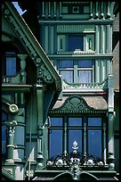 Detail of the Carson Mansion facade. California, USA (color)