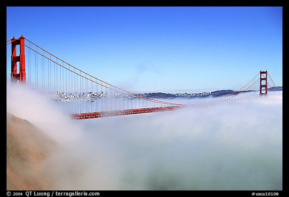 Fog rolls over the Golden Gate. San Francisco, California, USA (color)