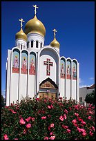 Russian Orthodox Cathedral with a foreground of flowers. San Francisco, California, USA