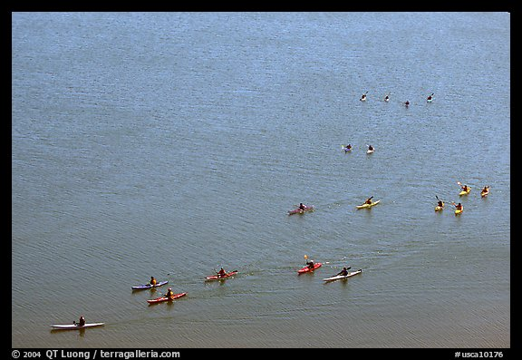 Sea Kayakers, Pilar Point Harbor. Half Moon Bay, California, USA (color)