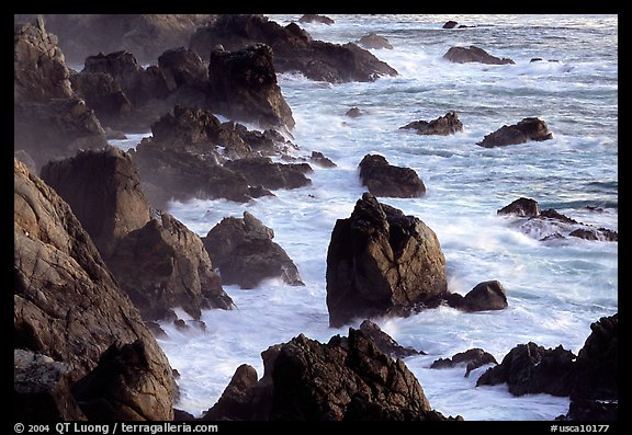 Pointed rocks and surf, Garapata State Park. Big Sur, California, USA