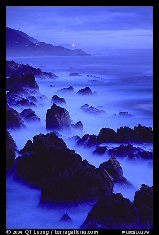 Rocks and surf at Blue hour, dusk, Garapata State Park. Big Sur, California, USA
