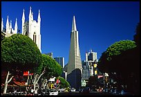 Cathedral and Transamerica Pyramid, North Beach, afternoon. San Francisco, California, USA