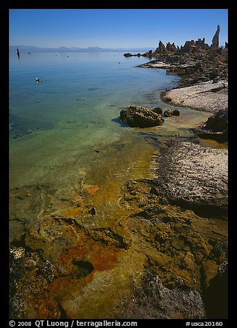 Colorful shore and tufa, mid-day. Mono Lake, California, USA (color)