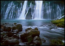 Wide waterfall over basalt, Burney Falls State Park. California, USA
