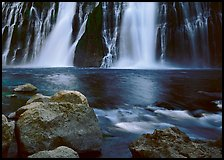 Boulders and waterfall, Burney Falls State Park. California, USA