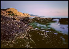 Mussels and Cliffs, Sculptured Beach, sunset. Point Reyes National Seashore, California, USA (color)