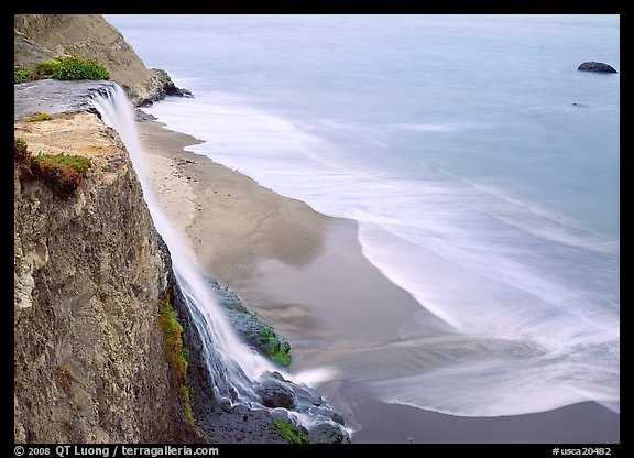 Alamere Falls, beach, and surf. Point Reyes National Seashore, California, USA (color)