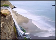 Alamere Falls, beach, and surf. Point Reyes National Seashore, California, USA ( color)