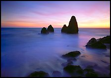 Seastacks and rocks, sunset, Rodeo Beach. California, USA