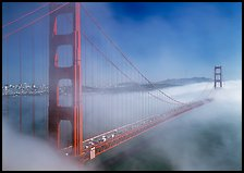 Golden Gate Bridge in Fog seen from Battery Spencer. San Francisco, California, USA (color)