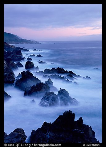Rocks and surf near Rocky Cny Bridge, Garapata State Park, dusk. Big Sur, California, USA