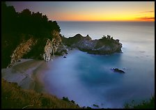 Mc Way Cove and waterfall at sunset. Big Sur, California, USA (color)