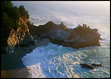 Mc Way Cove and waterfall, late afternoon. Big Sur, California, USA (color)