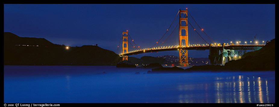 Golden Gate Bridge, blue hour. San Francisco, California, USA (color)