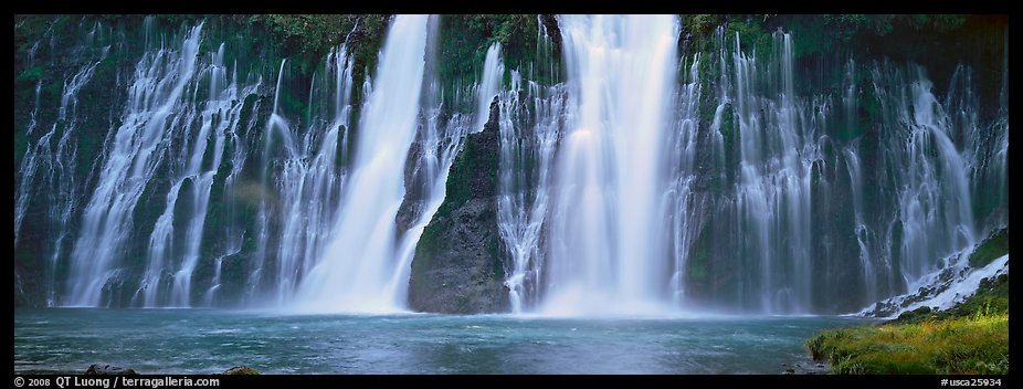 Wide waterfall, Burney Falls State Park. California, USA (color)