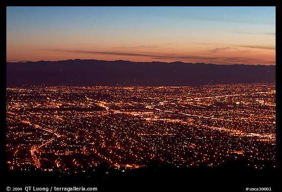 Lights of Silicon Valley at dusk. San Jose, California, USA (color)