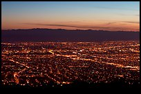 Lights of Silicon Valley at dusk. San Jose, California, USA