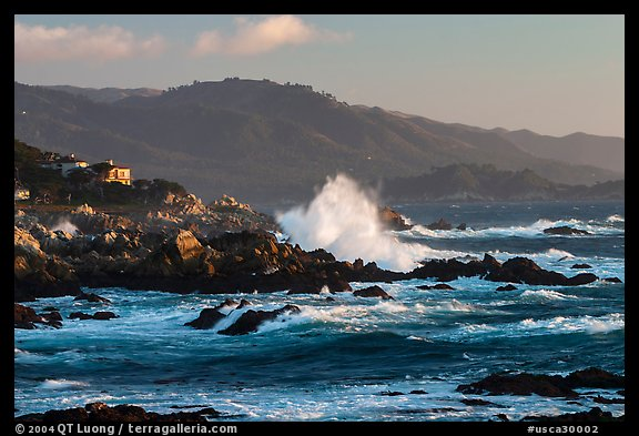 Coastline and Big wave, late afternoon, seventeen-mile drive. Pebble Beach, California, USA (color)