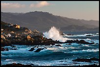 Coastline and Big wave, late afternoon, seventeen-mile drive, Pebble Beach. California, USA (color)