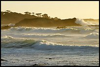 Waves, late afternoon, seventeen-mile drive, Pebble Beach. Pacific Grove, California, USA
