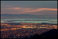 South end of the Bay with city lights at dusk. San Jose, California, USA