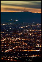 Lights of San Jose at dusk. San Jose, California, USA
