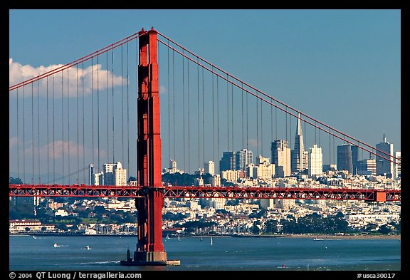 Golden Gate Bridge with city skyline, afternoon. San Francisco, California, USA (color)