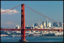 Golden Gate Bridge with city skyline, afternoon. San Francisco, California, USA