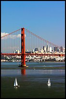Sailboats, Golden Gate Bridge with city skyline, afternoon. San Francisco, California, USA ( color)