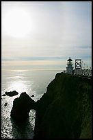 Point Bonita Lighthouse and sun, afternoon. California, USA