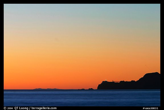 Marin headlands and Point Bonita, across the Golden Gate, sunset. California, USA (color)